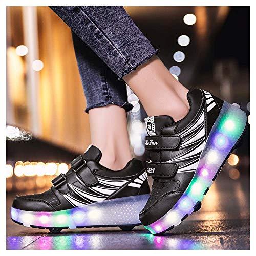 LED Skate Rollen Schuhe Mit 2 Rollen Drucktaste Einstellbare Skateboardschuhe Mode Rollerblades Sneaker Outdoor Gymnastik Turnschuhe für Junge MädchenBlack-33