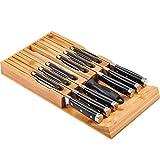 Utoplike Blocco Coltelli in bambù, Cassetti Organizzatore Coltelli e Supporto per Coltelli con Fessure di Sicurezza per 12 Coltelli e 1 Acciaio per Cucina, Ceppi Portacoltelli Vuoti