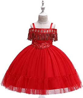 SEASHORE Princess Dress Girl Bow Princess Dress lace Wedding Party Performance Piano Costume 4-12 Years Old (Color : Red, Size : 10-11T)