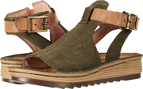 NAOT Women's Verbena Sandal Brushed Oliy Olive Suede/Vintage Camel Lthr 8 M US