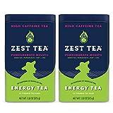 Zest Tea Premium Energy Hot Tea, High Caffeine Blend Natural & Healthy Black Coffee Substitute, Perfect for Keto, 135 mg Caffeine per Serving, Pomegranate Mojito Green Tea, 30 Sachets (2 Tins)