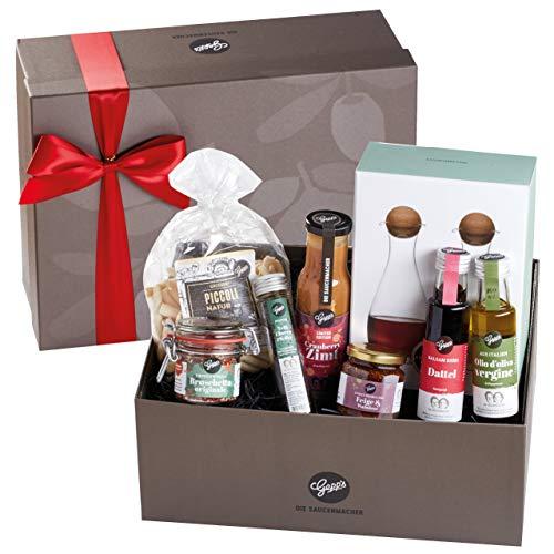 Gepp's XXL Deluxe Geschenkbox | Gefüllt mit feinsten Delikatessen und einer Essig & Öl Karaffe aus Glas | Hochwertiges Geschenk für Frauen und Männer