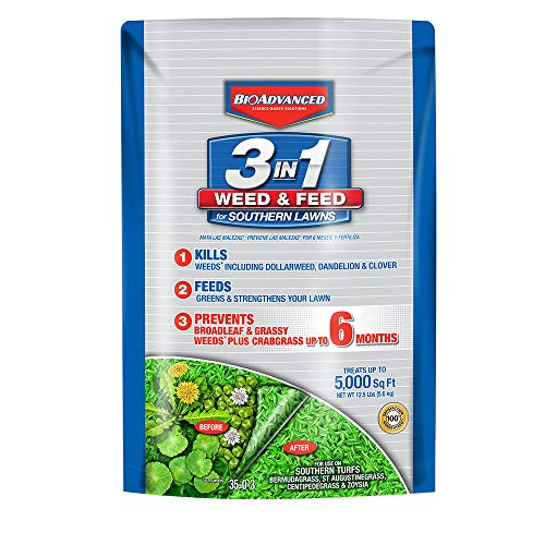 BioAdvanced 704840B Feed 3-in-1 Weed Killer Fertilizer for Southern Lawns, 12.5-Pound, Granules