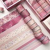 ZGNB 12 Rollos Washi Tapes Set Decorativa Colección Cinta de álbum de Recortes para Manualidades y Envoltura de Regalos Decoración-10/15/20/30 mm * 3 m (12/84 Rollos)