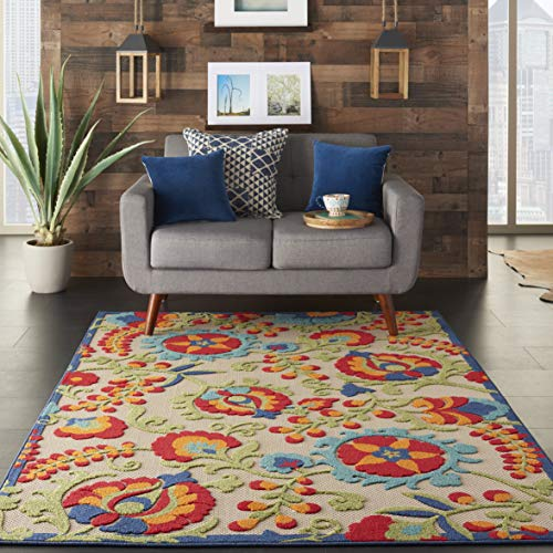 Nourison Aloha  Multicolor Indoor/Outdoor Area Rug  5 feet 3 Inches by 7 Feet 5 Inches, 5'3