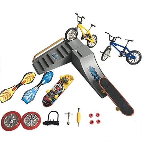 eLUUGIE 16 in 1 DIY Kit Fingerboards mit Rampe/Mini Skateboard/Finger Bike/Ramp/mit Räder/Swing Boards/Montagezubehör/Mini Schraubenschlüssel (16 in 1)