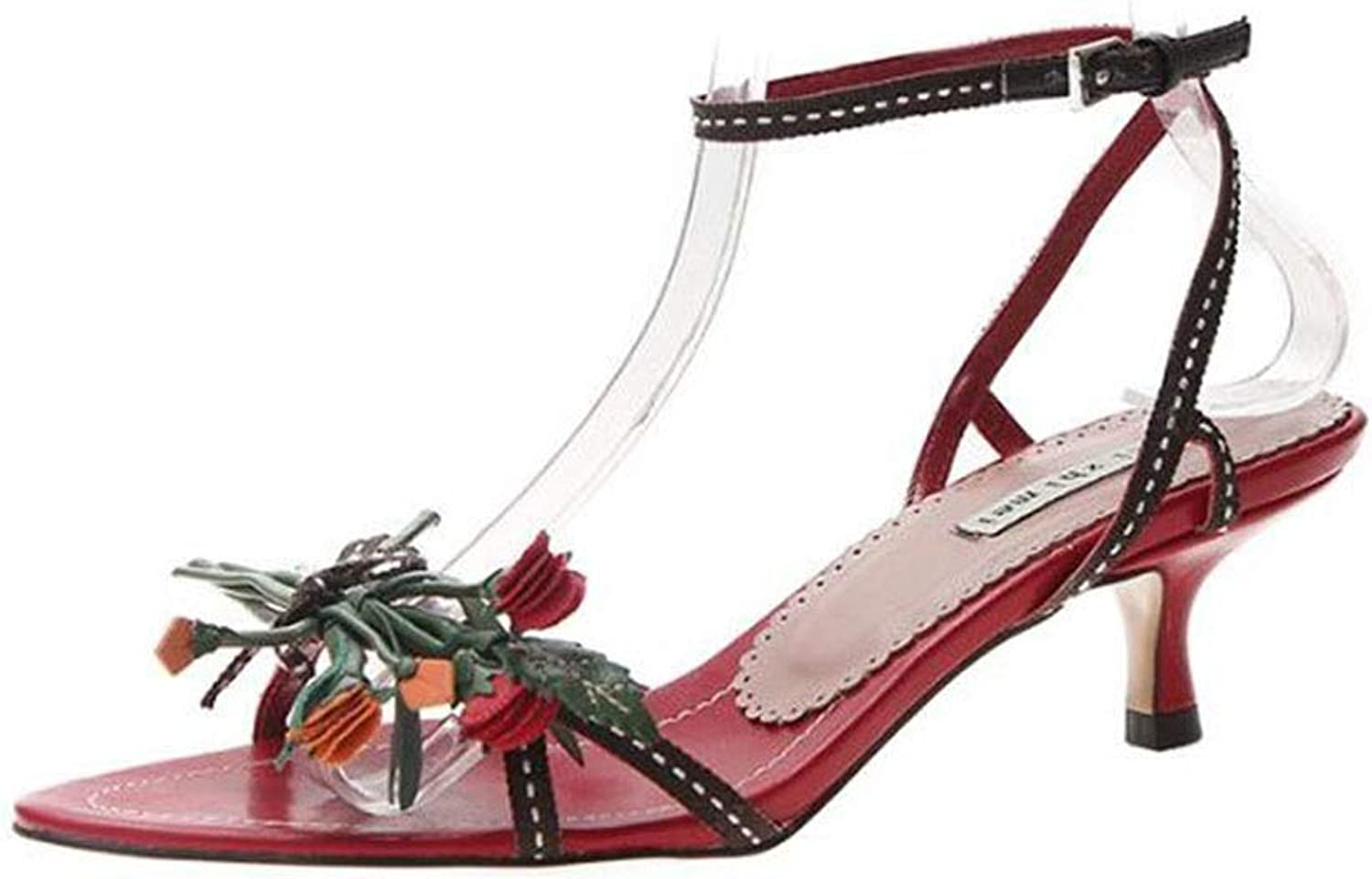 Summer Buckle High Heel Sandals Cherry Red Fresh Flowers Stiletto shoes Simple Sandals (color   Red, Size   235)