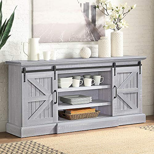 """BELLEZE Ashford 60"""" Farmhouse Universal Stand Console Fit TV's Up to 65"""" Living Room Storage Barn Doors and Shelves Entertainment Center, Stone Grey"""