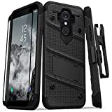 ZIZO Bolt Series LG Q7+ Case Military Grade Drop Tested with Tempered Glass Screen Protector Holster LG Q7 Plus Black