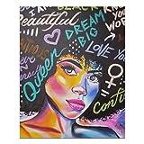 Impresión artística de pared de niña afroamericana en decoraciones de pared de madera, 25 x 20 cm, p...