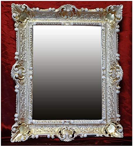 Lnxp WANDSPIEGEL BAROCKSPIEGEL Spiegel in 56X46 cm Gold Weiß DUALCOLOR Renaissance Opulenter PRACHTVOLLER Nostalgie Antik Barock REPRO BAROCKSTIL