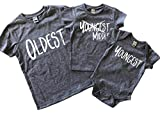 Oldest Middle Youngest Shirts For Siblings Set Of 3 in Grey
