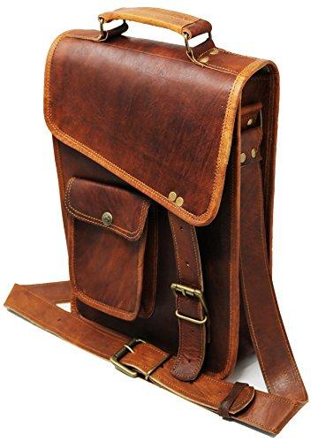 11' Leather Messenger Bag Laptop case Office Briefcase Gift for Men Computer Distressed Shoulder Bag