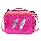 Mermaid Lunch Box for Girls Flip Sequin Insulated School Lunch Bag Durable Thermal Reusable Lunch Tote Glitter (Hot Pink)