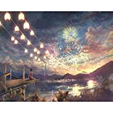 yaonuli Fuegos Artificiales Temporada Paisaje DIY Pintura Digital Lienzo decoración del hogar 40x50cm Sin Marco