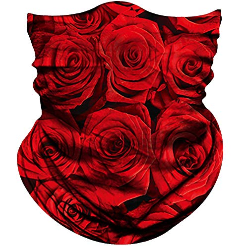 Obacle Seamless Bandana for Rave Face Mask Dust Wind UV Sun Protection Neck Gaiter Tube Mask Headwear Bandana for Women Men Festival Party Motorcycle Riding Outdoor (Pure Red Rose)