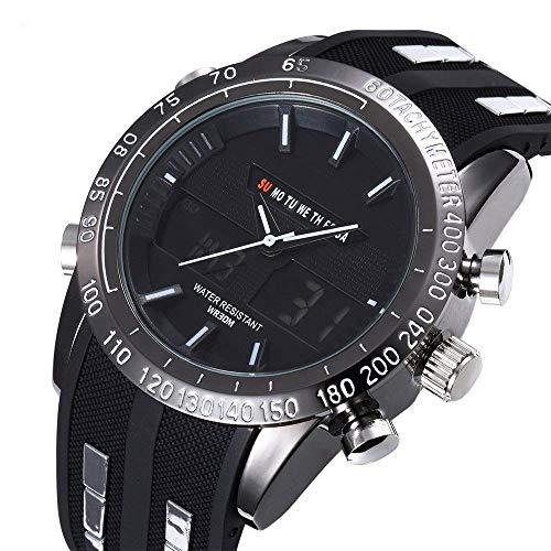 LYMUP Ultra-Delgado de Deportes de múltiples Funciones del Reloj de los Pares ectronic Informal Polar de Negocio de los Hombres del Reloj de,Vapor (Color : Red)