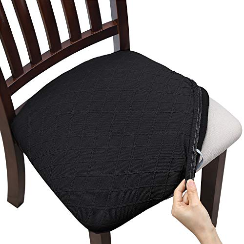 Fuloon 4 6 Pack Stretch Jacquard Chair Seat Covers,Removable Washable Anti-Dust Dinning Room Chair Seat Cushion Slipcovers (6, Black)