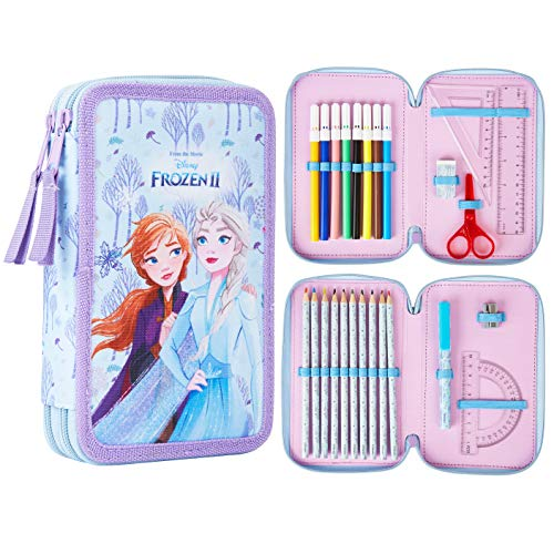Disney Frozen Astuccio Scuola, Astuccio Grande Capacità 2 Scomparti Completo Di...