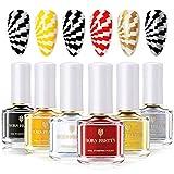 BORN PRETTY vernis stamping nail art vernis ongles stamping varnish nail plate printing polish 6 bouteilles 6 ml