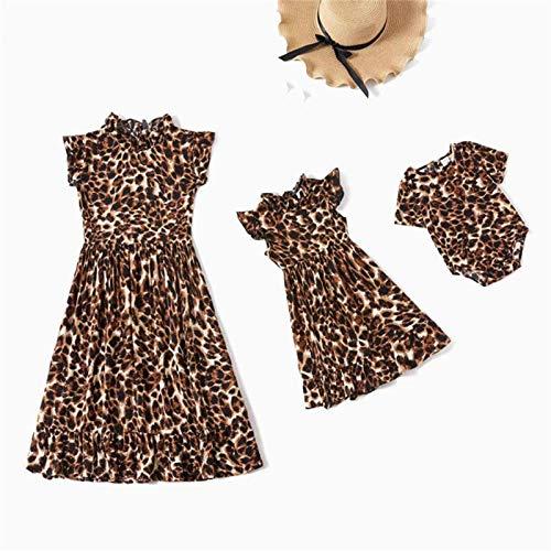 Mutter Und Tochter Kleiden Sich - Mode Passende Kleid Für Mama Und Tochter Sommer Leopard Druck Fliegende Ärmel Kleid Für Mama Und Mich Kleidung Baby Mädchen Jumpsuit Familie Aussehen Lässige H