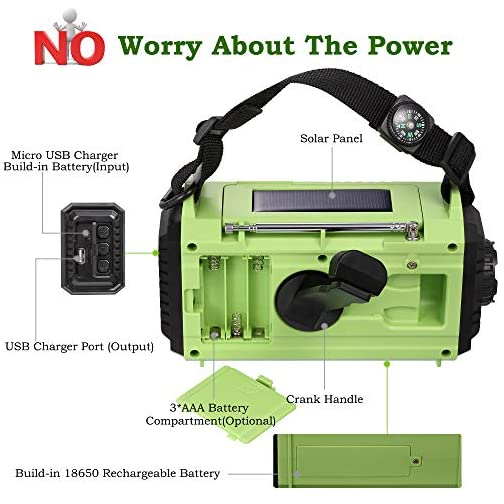 Portable Emergency Solar Hand Crank Radio, 5-way Powered AM/FM/SW/NOAA Weather Alert Radio, Power Bank for Phone Charger… 4