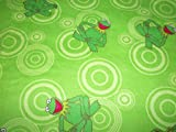 Kermit the Frog Fabric Flannel Light Green Background By The Fat Quarter New BTFQ