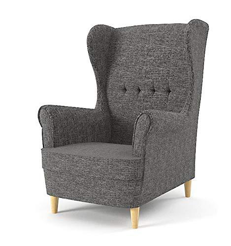Sofini Ohrensessel Milo! Sessel für Wohnzimmer & Esszimmer! Skandinawisch, Relaxsessel aus Webstoff, Best Sessel! (Lux 06)