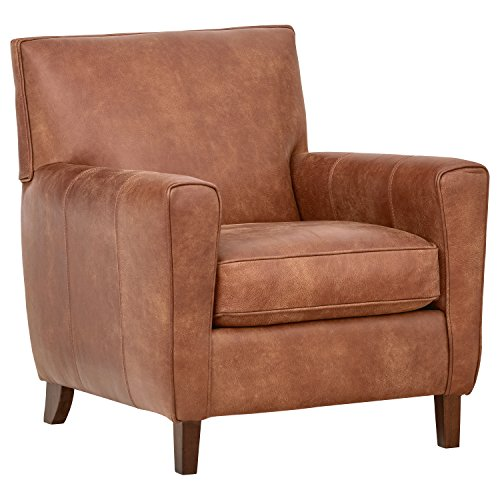 Amazon Brand – Rivet Lawson Mid-Century Modern Angled Leather Arm Chair, 33'W, Saddle Brown