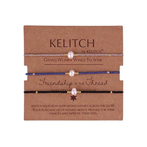 KELITCH 3 Pcs Shell Pearl Seed Beads Friendship Bracelets Handmade Adjustable String Bracelet #H