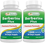 2 Pack - Best Naturals Berberine Plus 1000mg/Serving 60 Capsules Supports Healthy Glucose Metabolism (Non-GMO) (Total 120 Capsules)