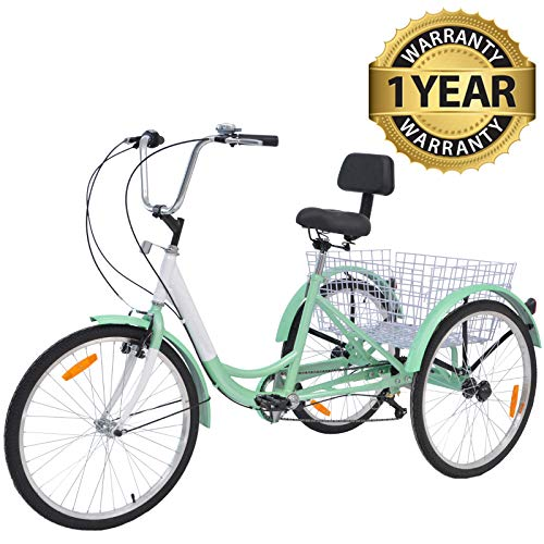 "Slsy Adult Tricycles 7 Speed, Adult Trikes 20/24 / 26 inch 3 Wheel Bikes, Three-Wheeled Bicycles Cruise Trike with Shopping Basket for Seniors, Women, Men. (Lights Sea Green, 24"" Wheels/ 7-Speed)"
