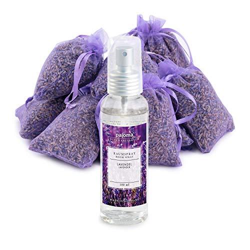 pajoma 10 Lavendelsäckchen Lavendelbeutel Sachets Plus wahlweise mit Duftöl Raumduft oder Kerzen (Raumspray Set)