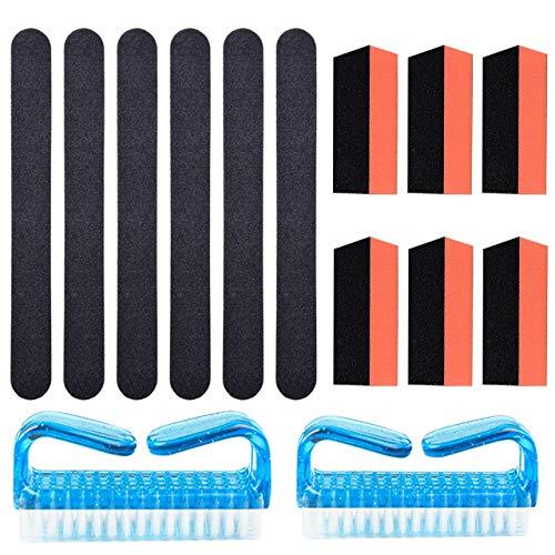 Tongxu 14pcs | Bleu + Noir + Rouge brique | Plastique + Autres | Ensemble d'outils de réparation d'ongles (6 sable noir tridimensionnel rouge brique + 6 bandes de lime noires + 2 brosses bleues)