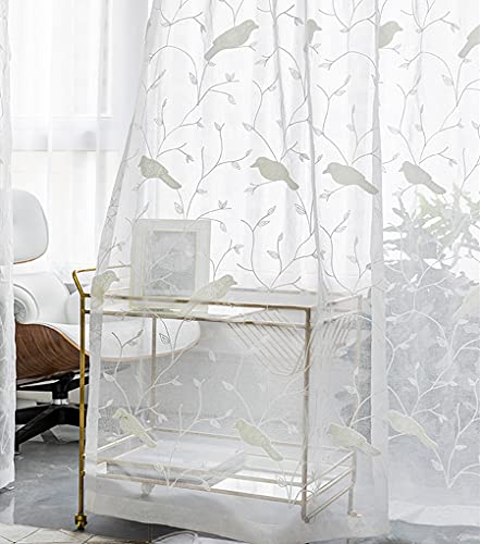 AliFish 1 Panel Birds and Trees Embroidered Ivory Sheer Curtains Linen Look Country Style Voile Yarn Gauze Drape Panels for Kids Room Living Room W39 x L63 inch
