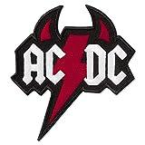 AC/DC - Toppa ricamata con corna del diavolo musicale, 7,9 x 8,4 cm