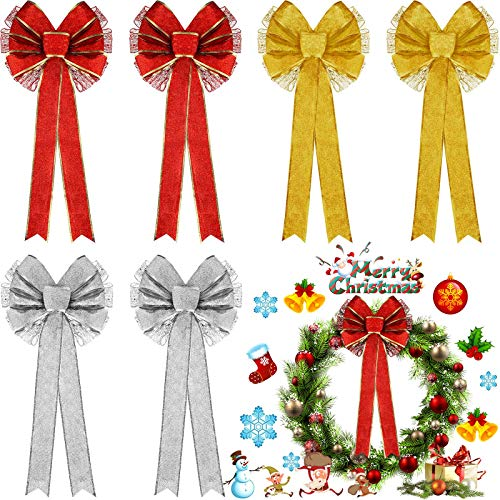 WILLBOND 6 Pieces Glitter Christmas Bows Large Christmas Wreath Bows Christmas Tree Bow Topper for Xmas Party Decoration, 10 x 18 Inch