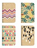 Pocket Notebook Set (12 NotebooksTotal) 3.25' x 5.25' Lined Pages, Stitched Binding, 4 Different Designs Stationery Notepad
