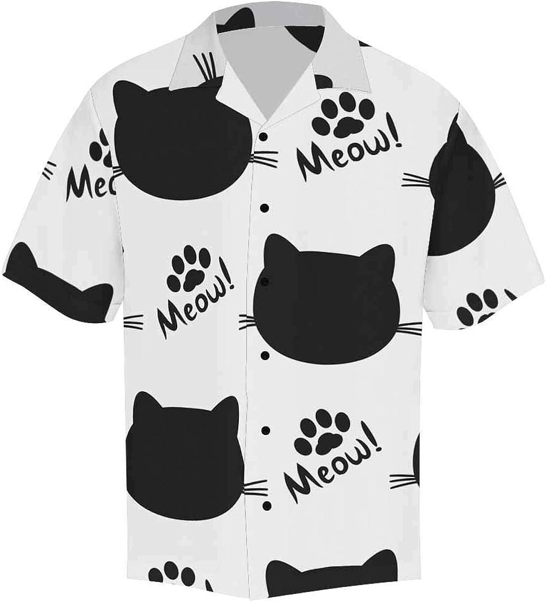 InterestPrint Men's Casual Button Down Short Sleeve Colored Cute Dinosaurs Hawaiian Shirt (S-5XL)