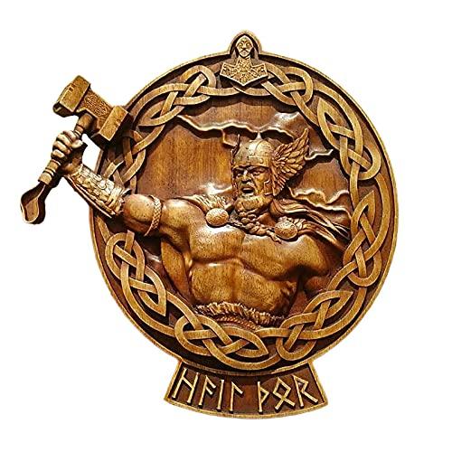 Escultura de pared de madera de la mitología nórdica, figuras y esculturas de la diosa de Thor Zeus Crow de zombie, decoración rústica para colgar decoraciones (B)