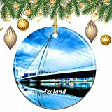 Ireland Samuel Beckett Bridge Dublin Christmas Xmas Tree Ornament Decoration Wedding Hanging Pendant. FEATURE--Made of Glossy Ceramics.100% handmade. DIMENSION--2.85 inch diameter and 0.14 inch thick.The same design on both sides. SOUVENIR--This is a...