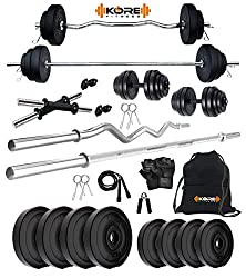 Kore PVC 20 Kg Home Gym Set with One 3 Ft Curl + One 5 Ft Plain Rod and One Pair Dumbbell Rods with Gym Accessories