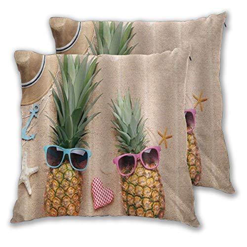 DECISAIYA Fundas de Cojines,Summer Beach Hippy Piña con Gafas de Sol Sombrero para el Sol y Ancla Azul,Fundas de Almohada Decorativas cuadradas para sofá Dormitorio hogar Hotel 60x60cm