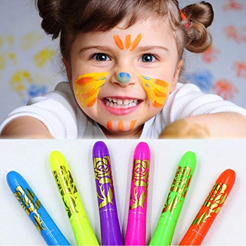 Glow in The Dark Face Paint Washable Luminous Face Paint Crayons Mardi Gras Halloween Makeup Marker Pen Face Painting Sticks for Kids Adult