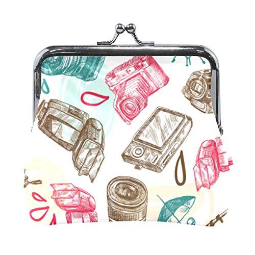 Brieftasche Foto Skizze Kamera Retro Münze Geldbörse Taschen Leder Wechselhalter Karte Clutch Handtasche