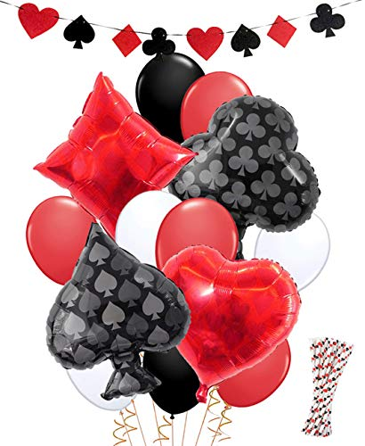 Casino Party Dekorationen Spiel Nacht Casino Strohhalme Ballons Banner für Poker Party Supplies