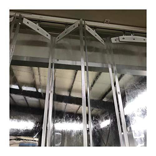 LSXIAO Puerta De Tira De Vinilo, Cortina Plegable, Pantalla Transparente Riel Colgante De Aleación De Aluminio para Congelador, Almacenamiento En Frio, Almacén (Color : Claro, Size : 1.2x2.2m)