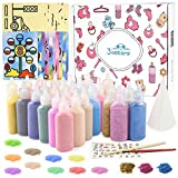 3 otters Sand Art Kit, Kids' Sand Art Kits Colored Sand Art Kit for Children, with 20 Sheets Sand Art Painting Cards Set Children Art Toy, 26 Colors