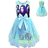 Descendants 3 Costume Mesh Dress for Girls, Birthday Party Supplies Outfits, Princess Dress Up Mesh Dresses (blue, 3-4T)