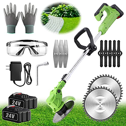 LENNI 24V Grass Trimmer Strimmer Cordless Strimmers Electric Powerful Brush Cutter Telescopic Lawn Mower with Battery and Charger & Three Kinds Spare Blades Garden Tools 90° Head Pivots for Lawn Weed